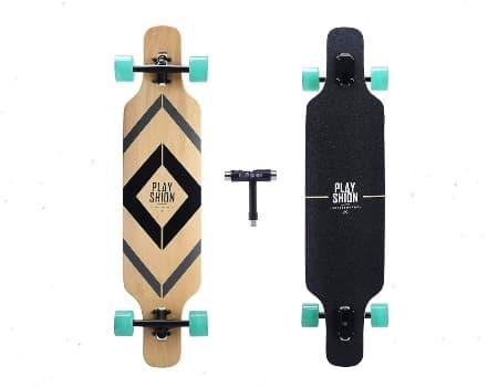 Playshion Drop Through Freestyle Longboard Skateboard